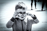 Boy in red glasses